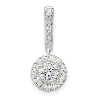 Sterling Silver CZ Halo Dangle Pendant