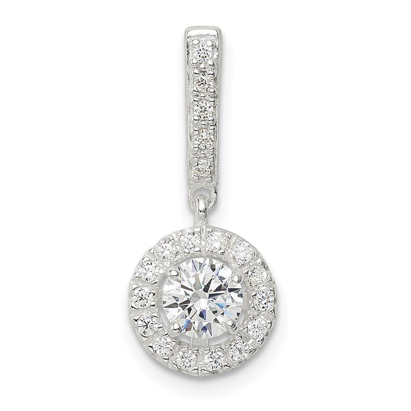 Quality Gold Sterling Silver CZ Halo Dangle Pendant