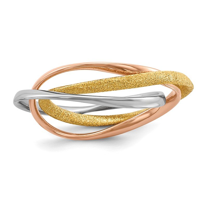 J.F. Kruse Signature Collection Sterling Silver Rhodium Gold & Rose Gold-plated Intertwined Ring