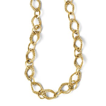 Leslies 14k Polished and Textured Fancy Link w/ 2in ext. Necklace