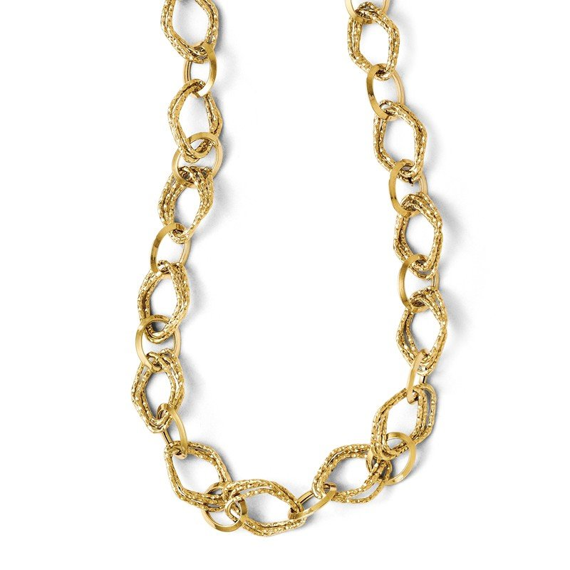 Leslie's Leslies 14k Polished and Textured Fancy Link w/ 2in ext. Necklace