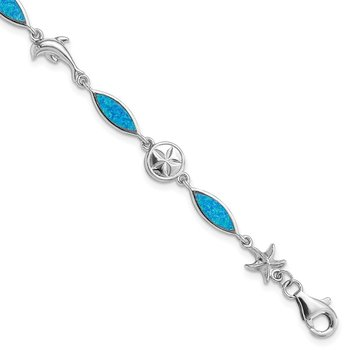 Sterling Silver Rhodium-plated Lab Created Opal Sea Life Bracelet