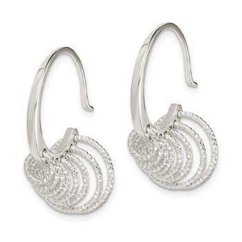 Sterling Silver Diamond Cut Circles Dangle Hoop Earrings