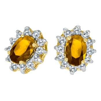 10k Yellow Gold Oval Citrine and .25 total ct Diamond Earrings