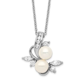 Cheryl M SS Rhodium-plated CZ & White FWC Pearl Leaves 18in Necklace