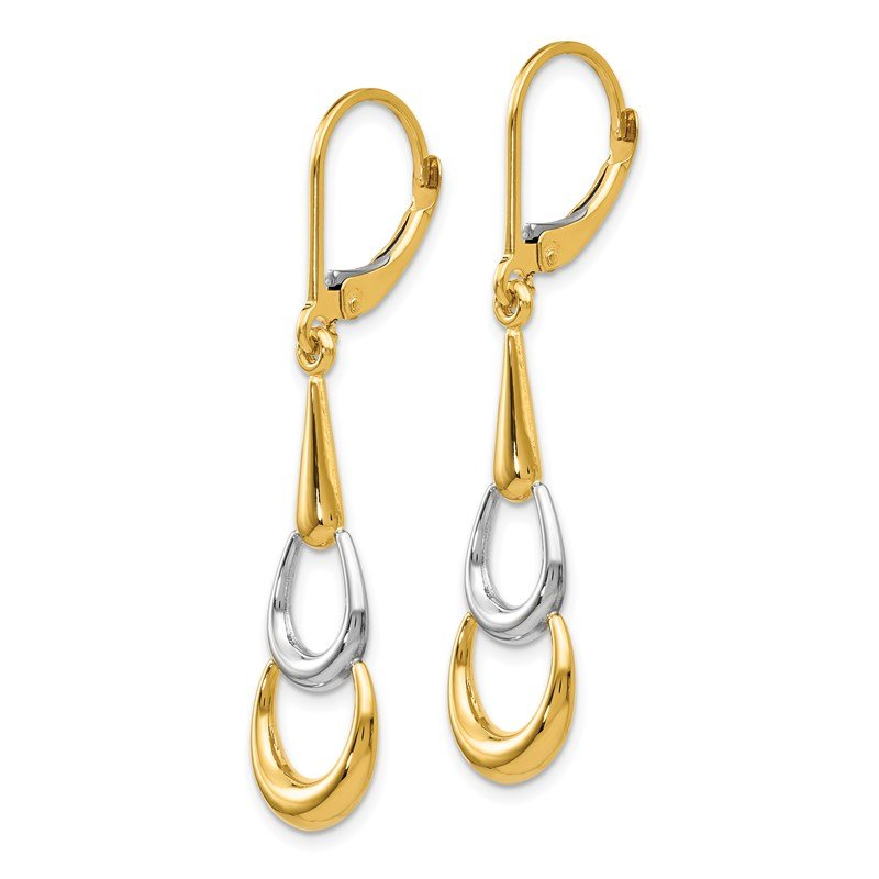Leslie's Leslie's 14K Two-tone Polished Leverback Earrings
