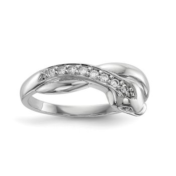 Sterling Silver Rhodium-plated CZ Snake Ring