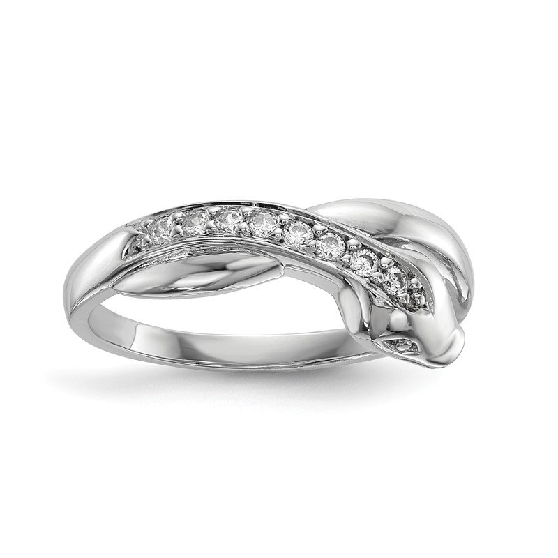 Quality Gold Sterling Silver Rhodium-plated CZ Snake Ring