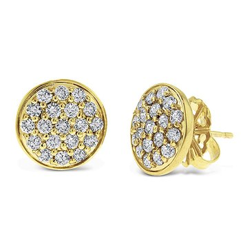 Diamond Disc Earrings in 14k White Gold with 38 Diamonds weighing .90ct tw.