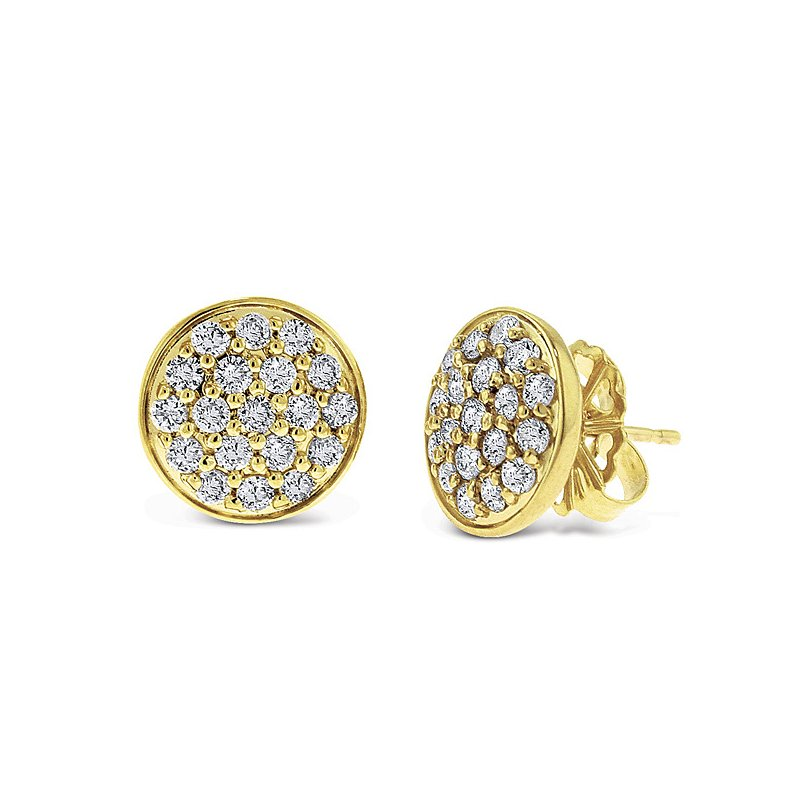 KC Designs Diamond Disc Earrings in 14k White Gold with 38 Diamonds weighing .90ct tw.