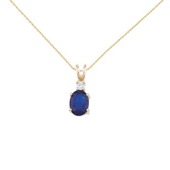 14K Yellow Gold Oval Sapphire & Diamond Pendant