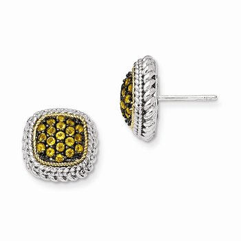 Sterling Silver w/14k and Black Rhodium Citrine Post Earrings