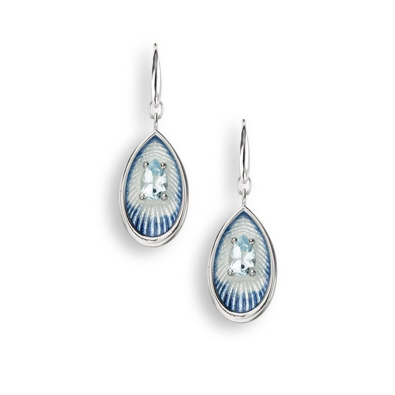 Nicole Barr Designs Blue Teardrop Wire Earrings.Sterling Silver-Blue Topaz