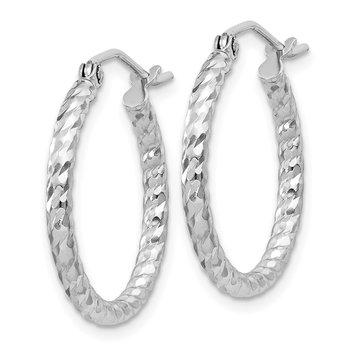 Sterling Silver Rhodium Plated Diamond-cut 2x20mm Hoop Earrings