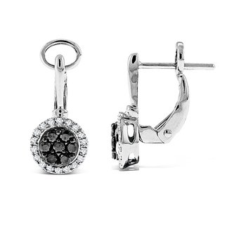 Black And White Diamond Small Disc Earrings in 14k White Gold with 50 Diamonds weighing .44ct tw.
