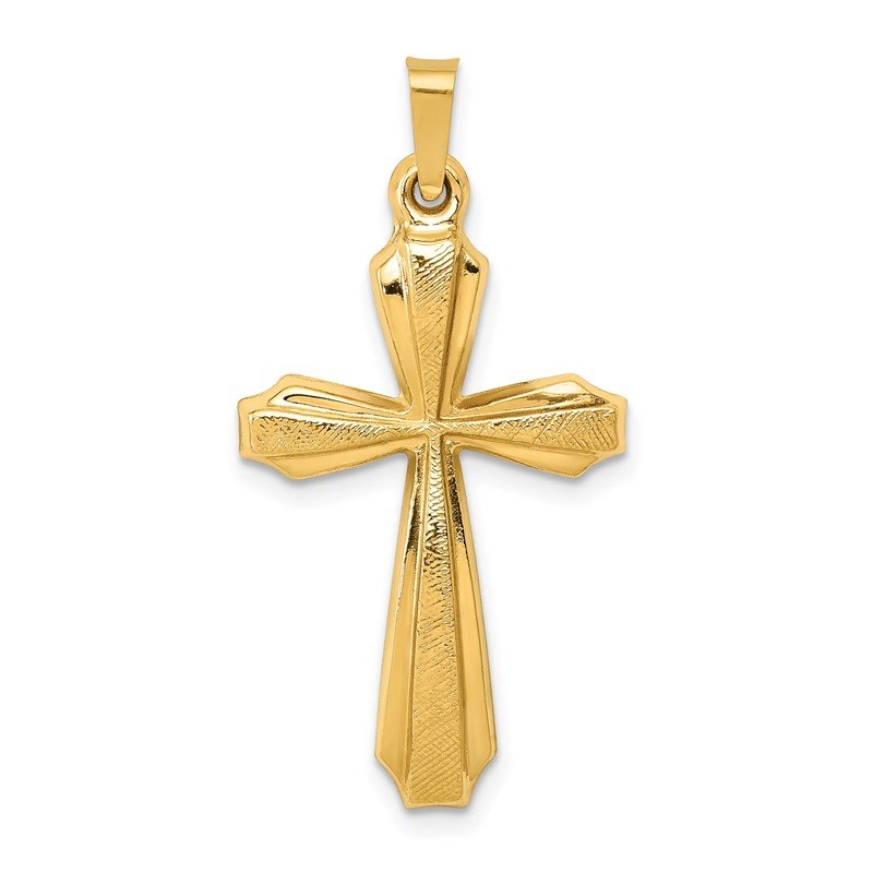 Quality Gold 14k Textured and Polished Passion Cross Pendant