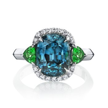 Blue zircon, Tsavorite and Diamond Ring