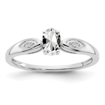 14k White Gold White Topaz and Diamond Ring