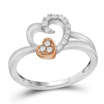 10kt White Gold Womens Round Diamond Double Heart Ring 1/6 Cttw