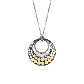 Dot Long Reversible Pendant Necklace, Hammered Silver,18K