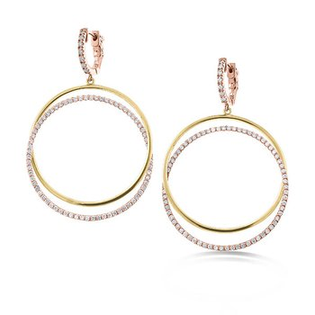 Two Tone Diamond Double Circle Drop Earrings in 14K Rose and Yellow Gold with 154 diamonds weighing 1.24ct tw
