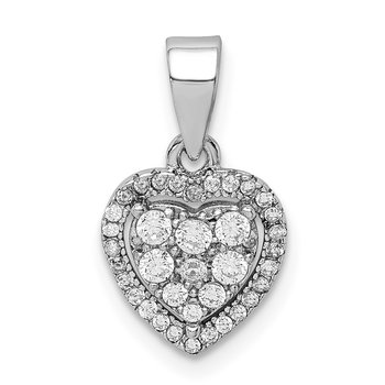 Sterling Silver Rhodium-plated Pave CZ Heart Pendant