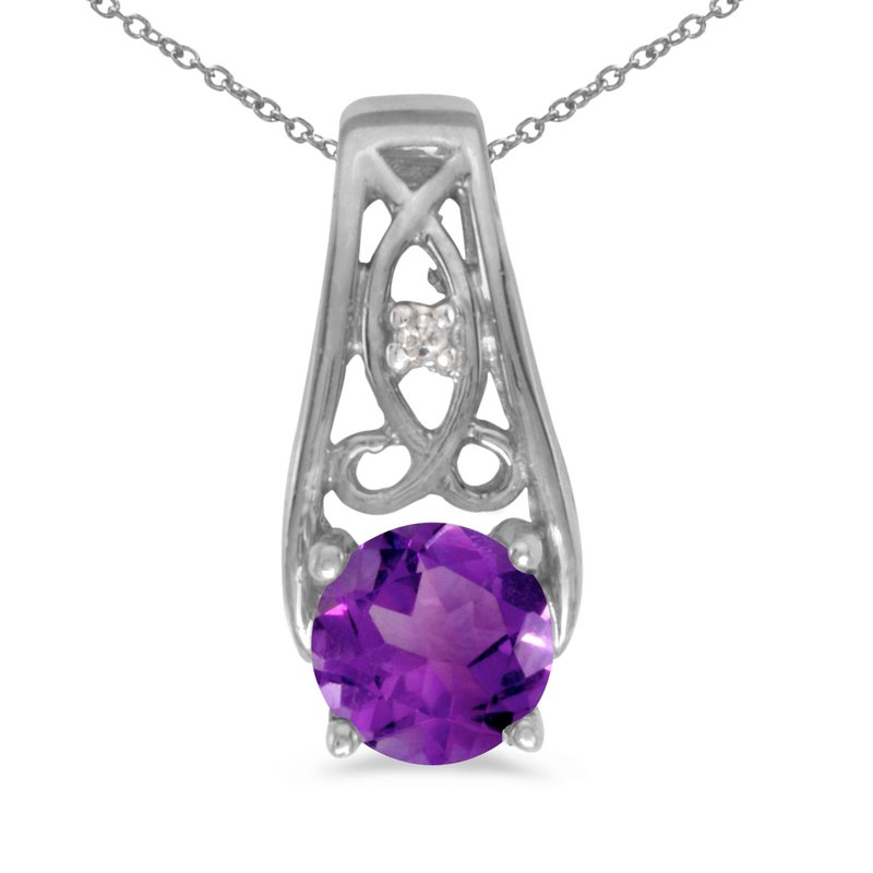 Color Merchants 14k White Gold Round Amethyst And Diamond Pendant