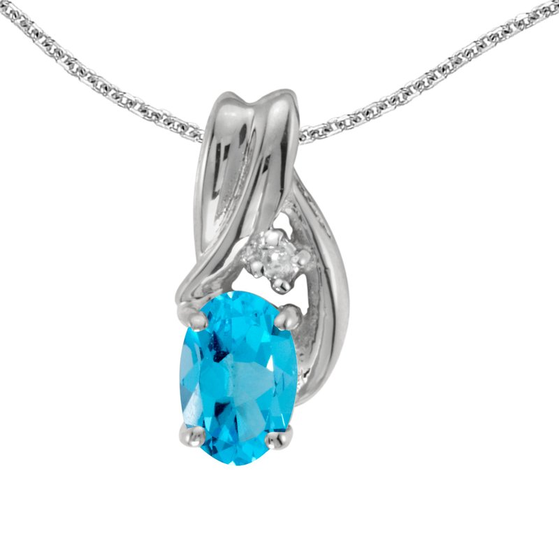Color Merchants 14k White Gold Oval Blue Topaz And Diamond Pendant