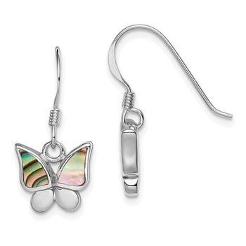 Sterling Silver Rhodium-plated Polished Abalone Butterfly Earrings