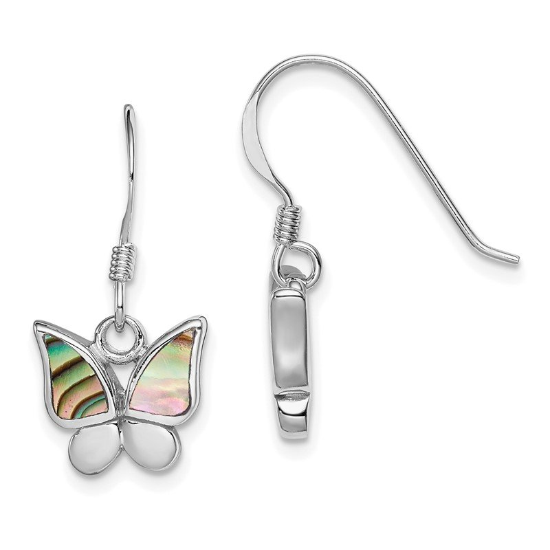 Quality Gold Sterling Silver Rhodium-plated Polished Abalone Butterfly Earrings