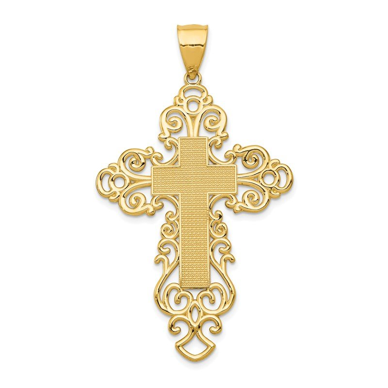 Quality Gold 14k Polished Fancy Cross Pendant
