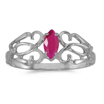 14k White Gold Marquise Ruby Filagree Ring