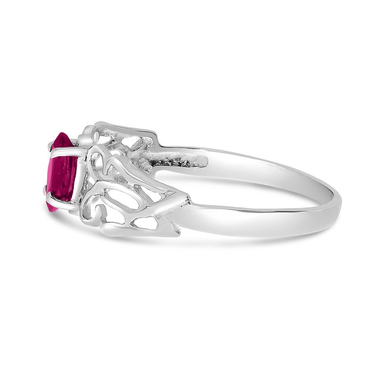 Color Merchants 14k White Gold Marquise Ruby Filagree Ring
