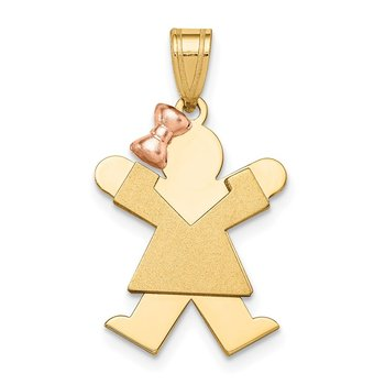 14k Two-Tone Small Girl with Bow on Left Engravable Charm