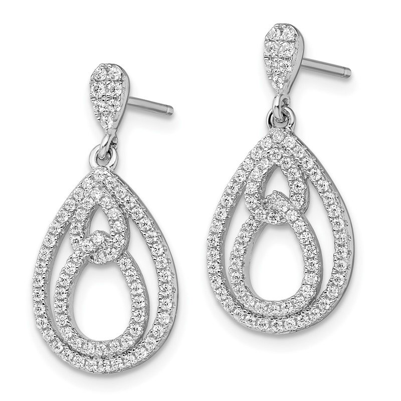 Quality Gold Sterling Silver Brilliant Embers Rhodium-plated CZ Dangle Post Earrings