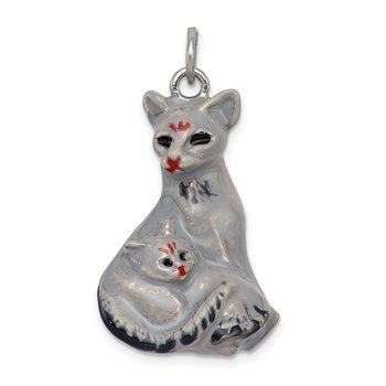 Sterling Silver Enameled Persian Cat with Kitten Charm