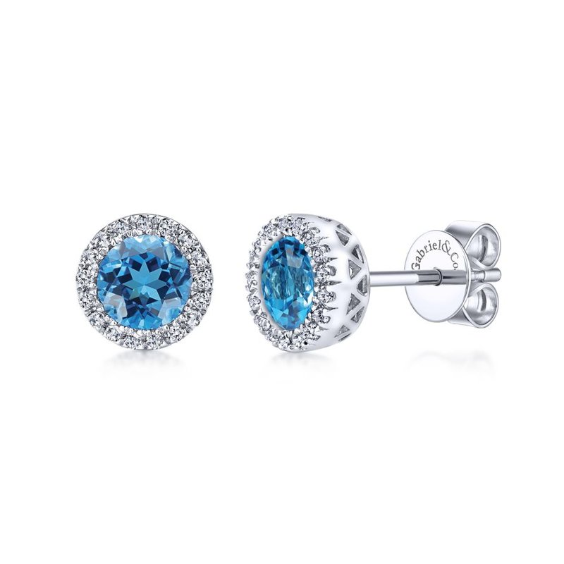 Gabriel Fashion 14K White Gold Blue Topaz and Diamond Halo Stud Earrings