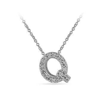 "10K WG and diamond block letters alphabet Q ""chain-sliding"" pendant in prong setting"