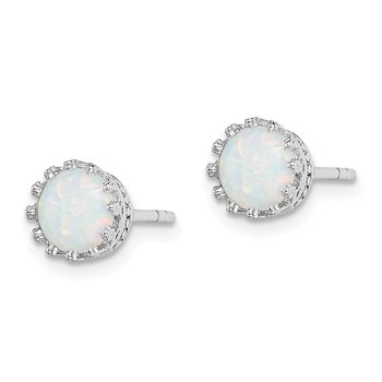 Sterling Silver Rhodium-plated 6mm Polished Created Opal Post Earrings