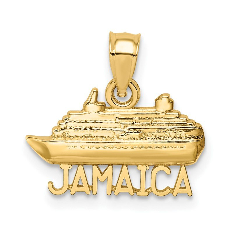 Quality Gold 14K Polished Jamaica Ship Pendant
