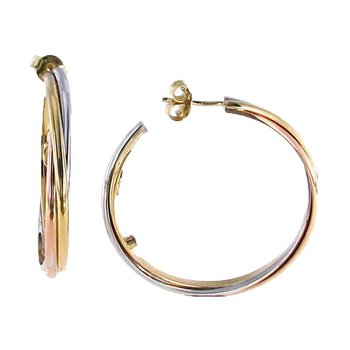 18KT TRI-COLOR GOLD EARRINGS
