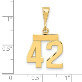 14k Small Polished Number 42 Charm