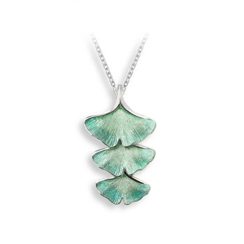 Turquoise Ginkgo 3-Leaf Necklace.Sterling Silver