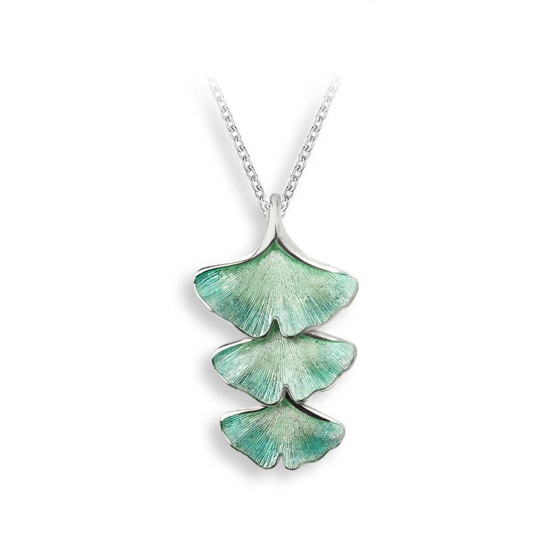 Nicole Barr Designs Turquoise Ginkgo 3-Leaf Necklace.Sterling Silver