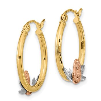 14K Tri-color Guadalupe Hoop Earrings