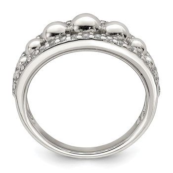 Sterling Silver CZ w/Beads Ring