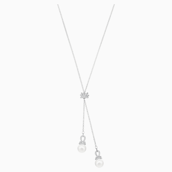 Originally Y Necklace, White, Rhodium plated