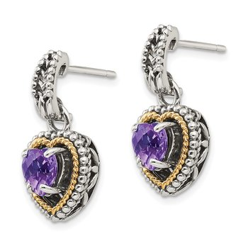Sterling Silver w/14k Antiqued Amethyst Heart Post Dangle Earrings