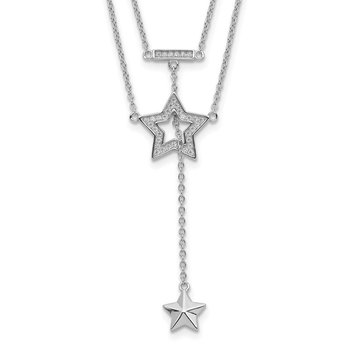 Sterling Silver Rhodium-plated 2-Strand CZ Star w/1in. Ext. Necklace