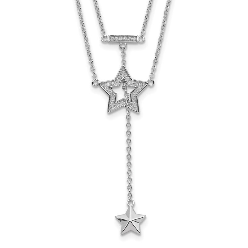 Quality Gold Sterling Silver Rhodium-plated 2-Strand CZ Star w/1in. Ext. Necklace